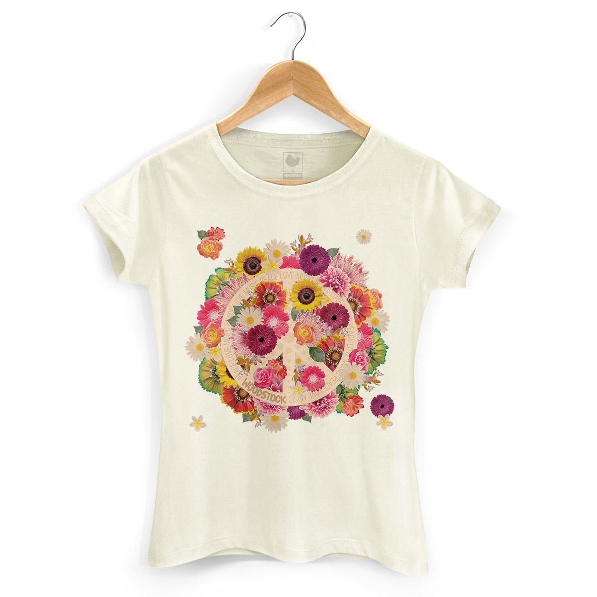 Camiseta Feminina Woodstock Flowers Peace