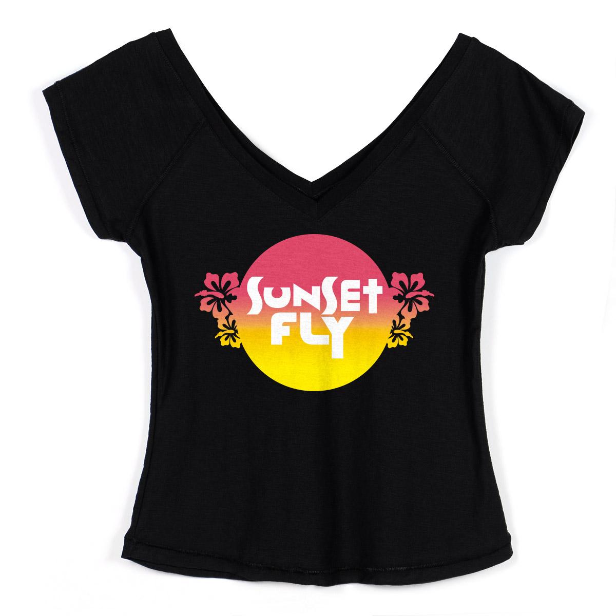 Camiseta Gola V Feminina Banda Fly Sunset