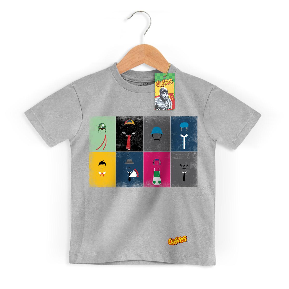 Camiseta Infantil Chaves Ícones Vintage