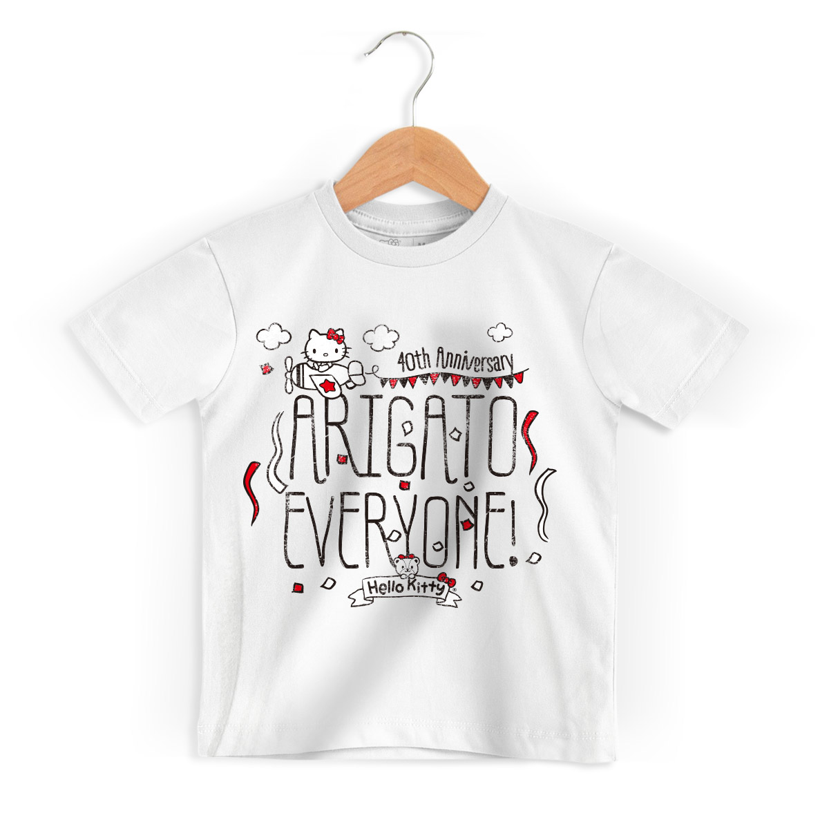 Camiseta Infantil Hello Kitty Arigato Everyone