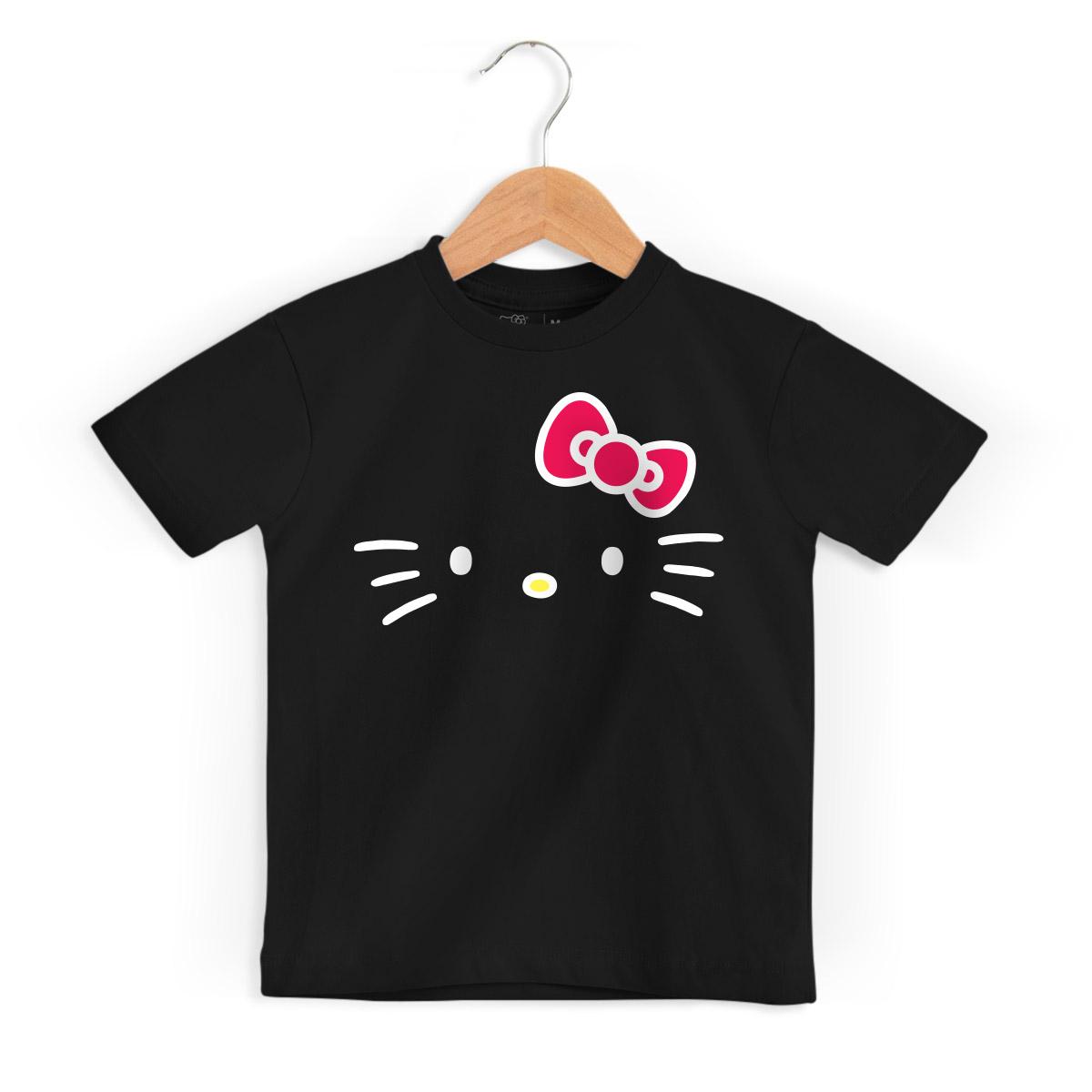 Camiseta Infantil Hello Kitty White Black