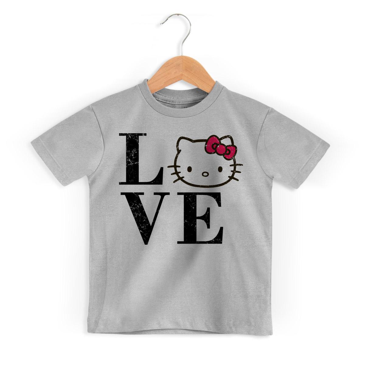 Camiseta Infantil Love Hello Kitty