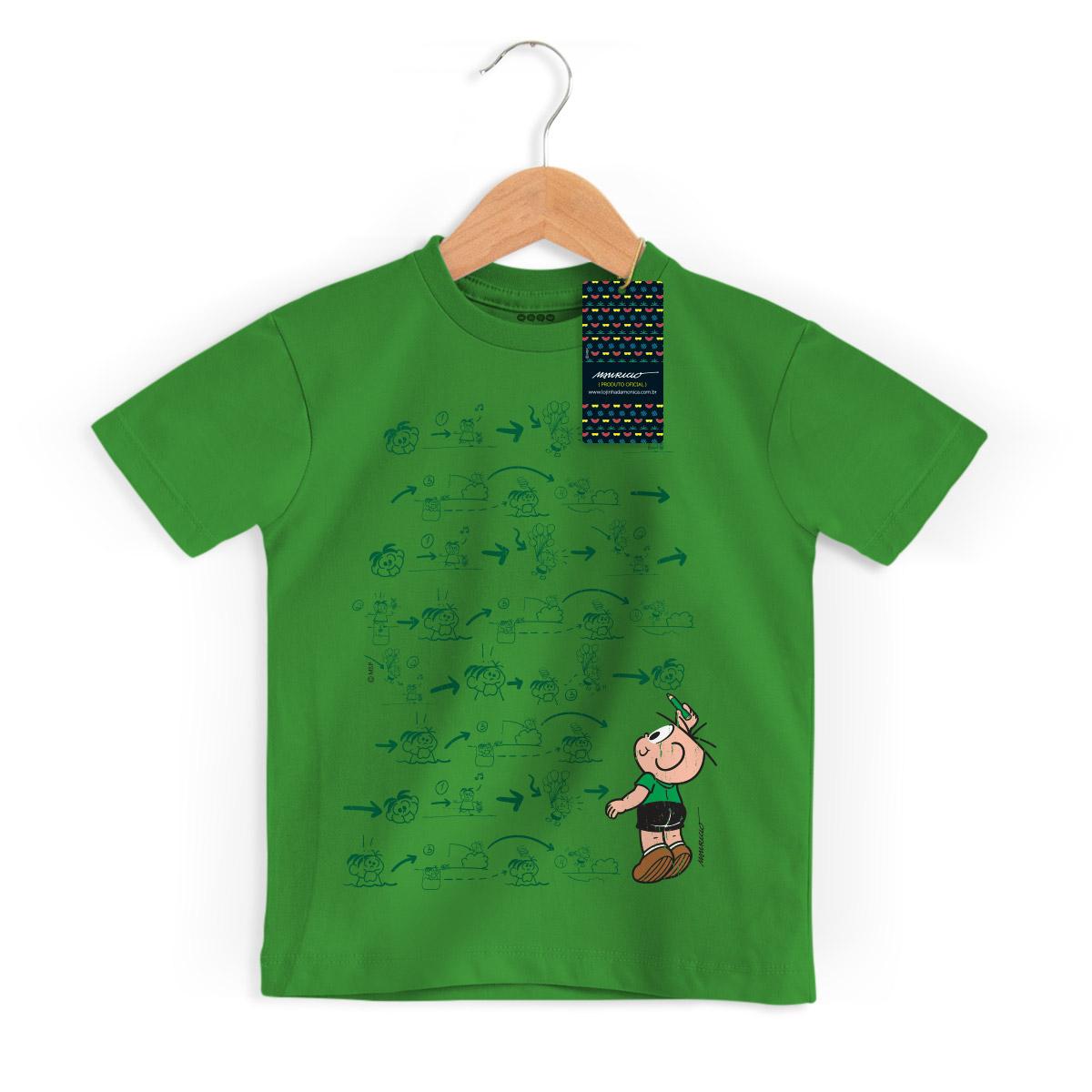 Camiseta Infantil Turma Da Mônica Cool Green Cebolinha