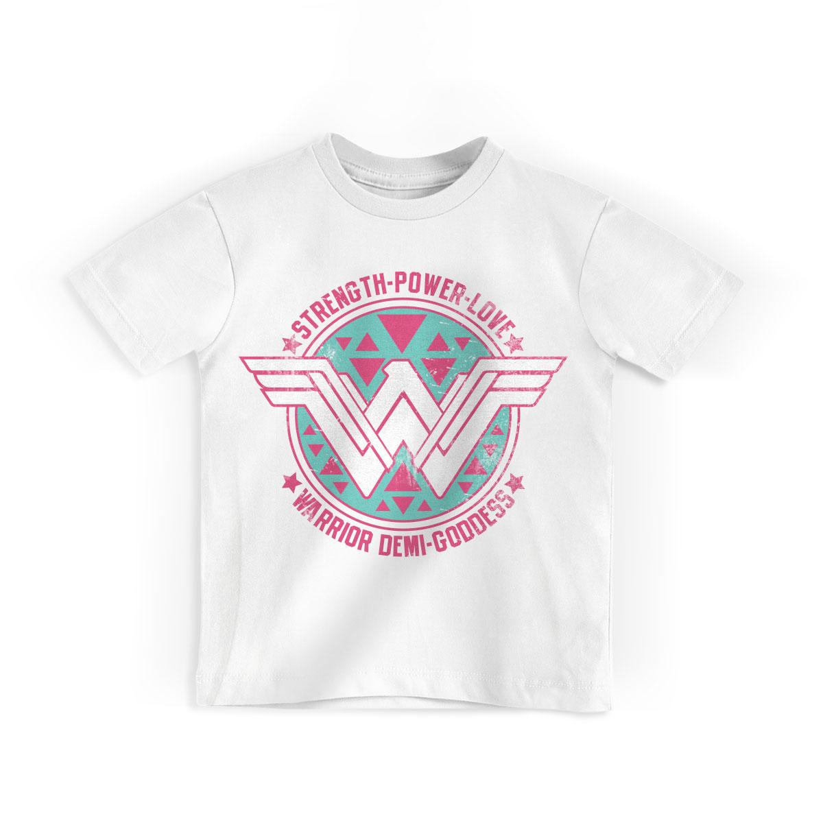 Camiseta Infantil Wonder Woman Warrior Demi-Goddess
