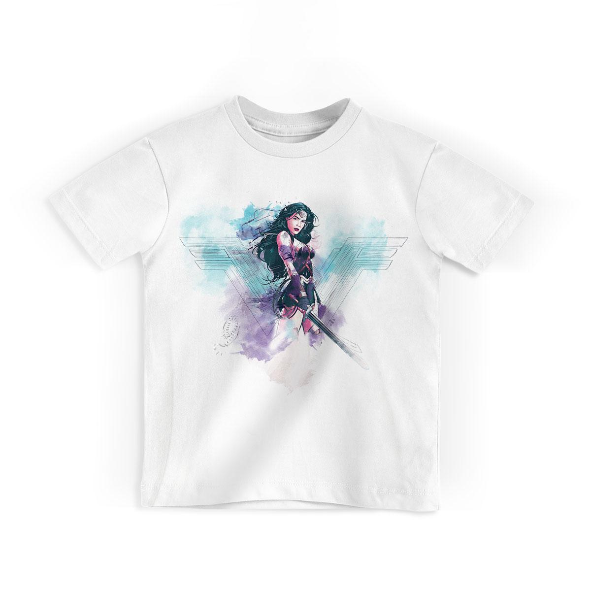 Camiseta Infantil Wonder Woman Watercolor
