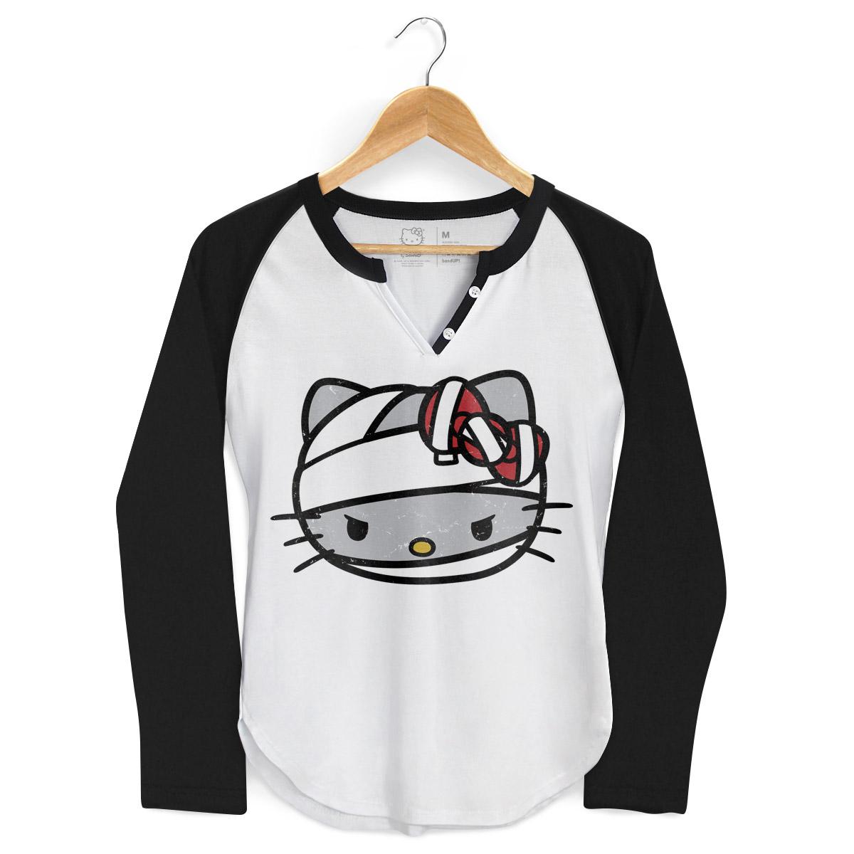 Camiseta Manga Longa Raglan Feminina Hello Kitty Mummy