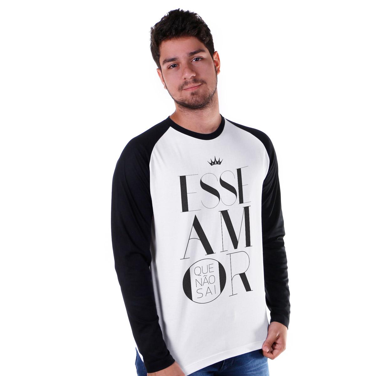 Camiseta Manga Longa Raglan Masculina Ivete Sangalo Esse Amor