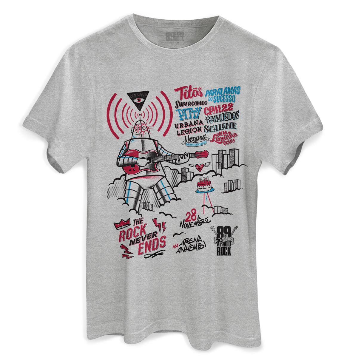 Camiseta Masculina 89FM A Rádio Rock 30 Anos Pôster Gray