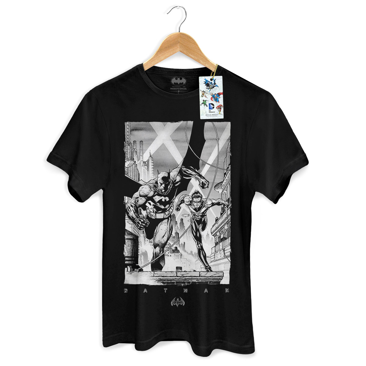 Camiseta Masculina Batman Tracing Batman e Robin