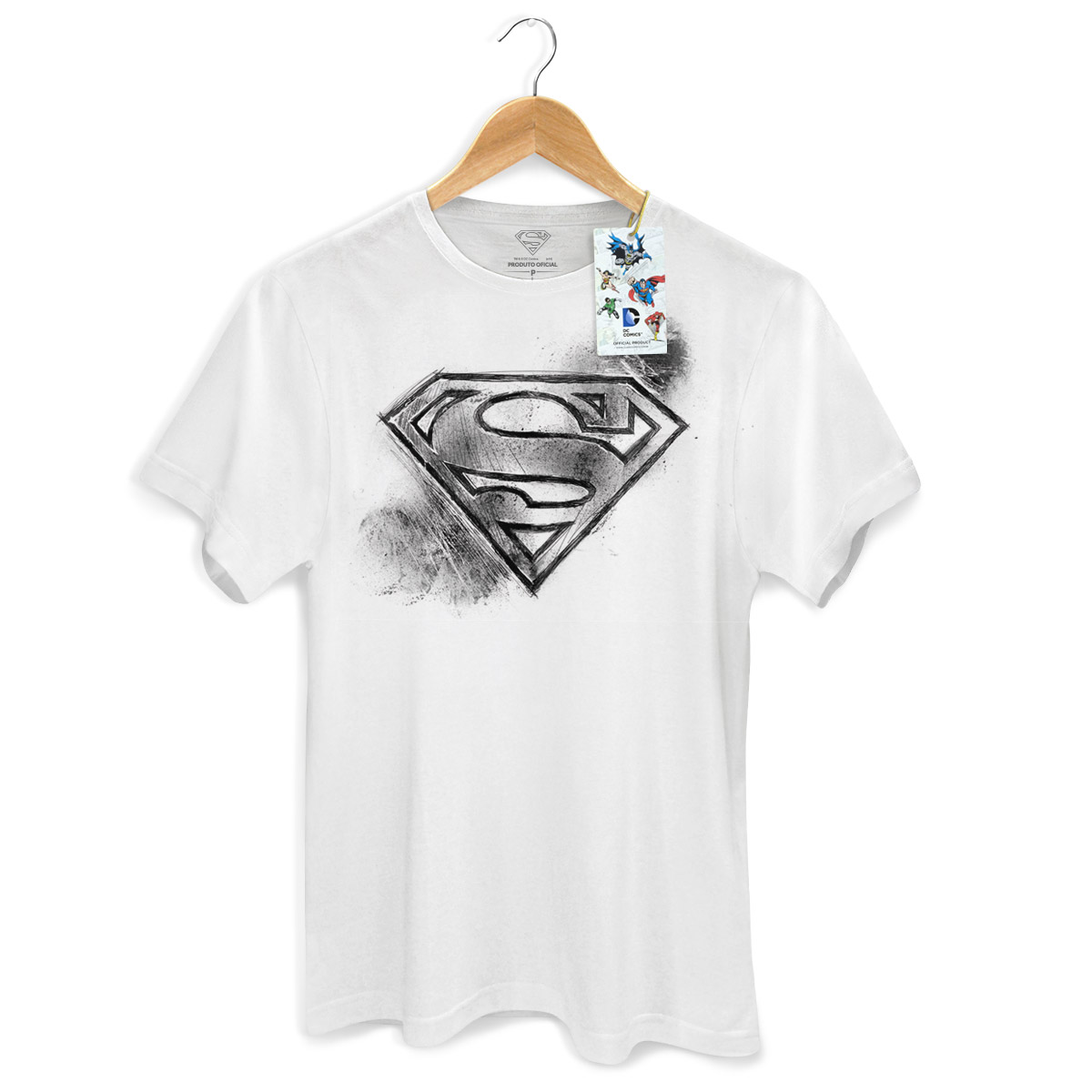 Camiseta Masculina Superman Logo Tracing White