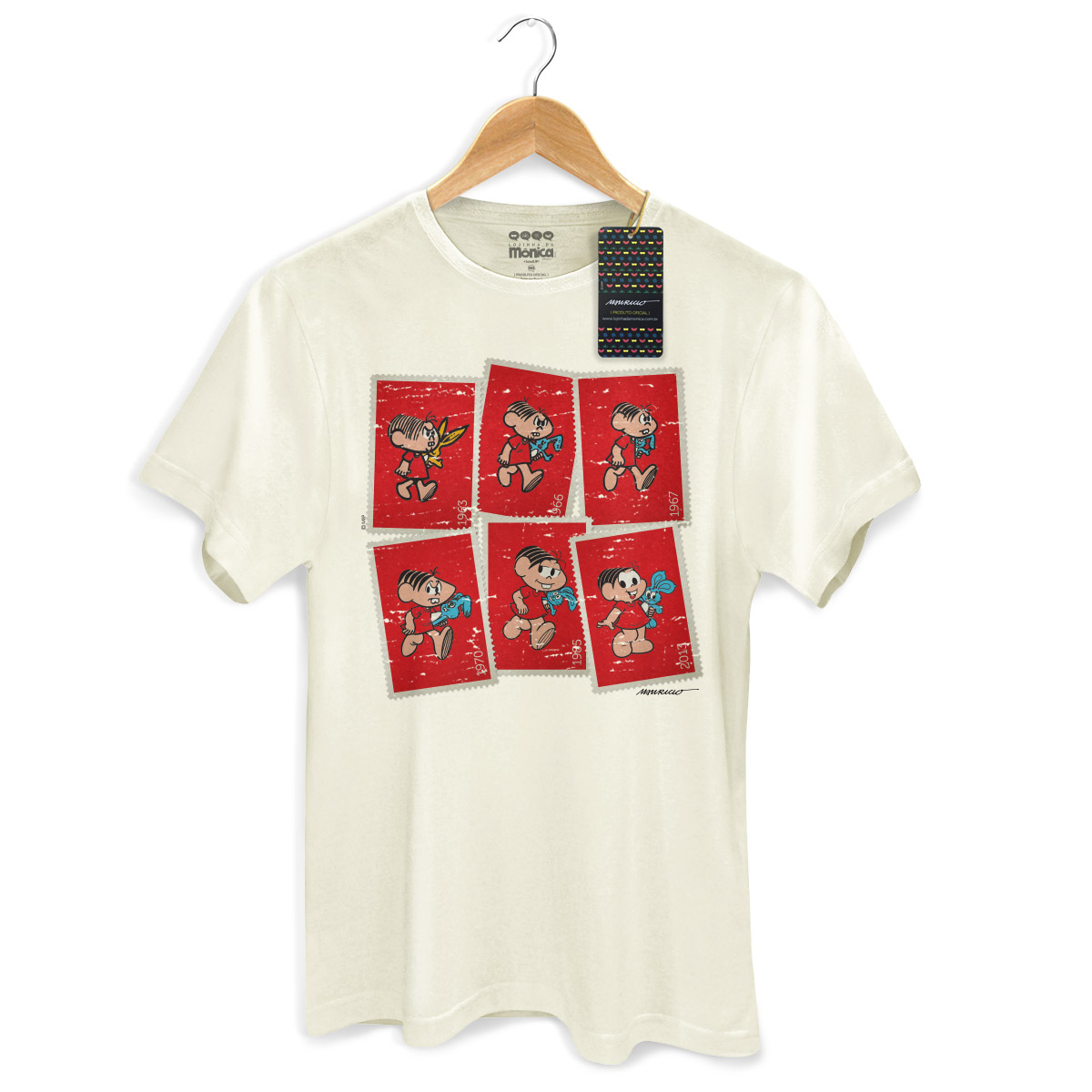 Camiseta Masculina Turma da Mônica 50 Anos Evolução Modelo 3