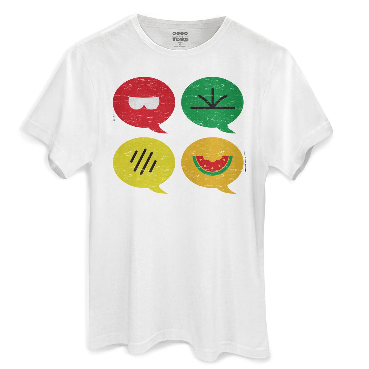 Camiseta Masculina Turma da Mônica Cool Ícones