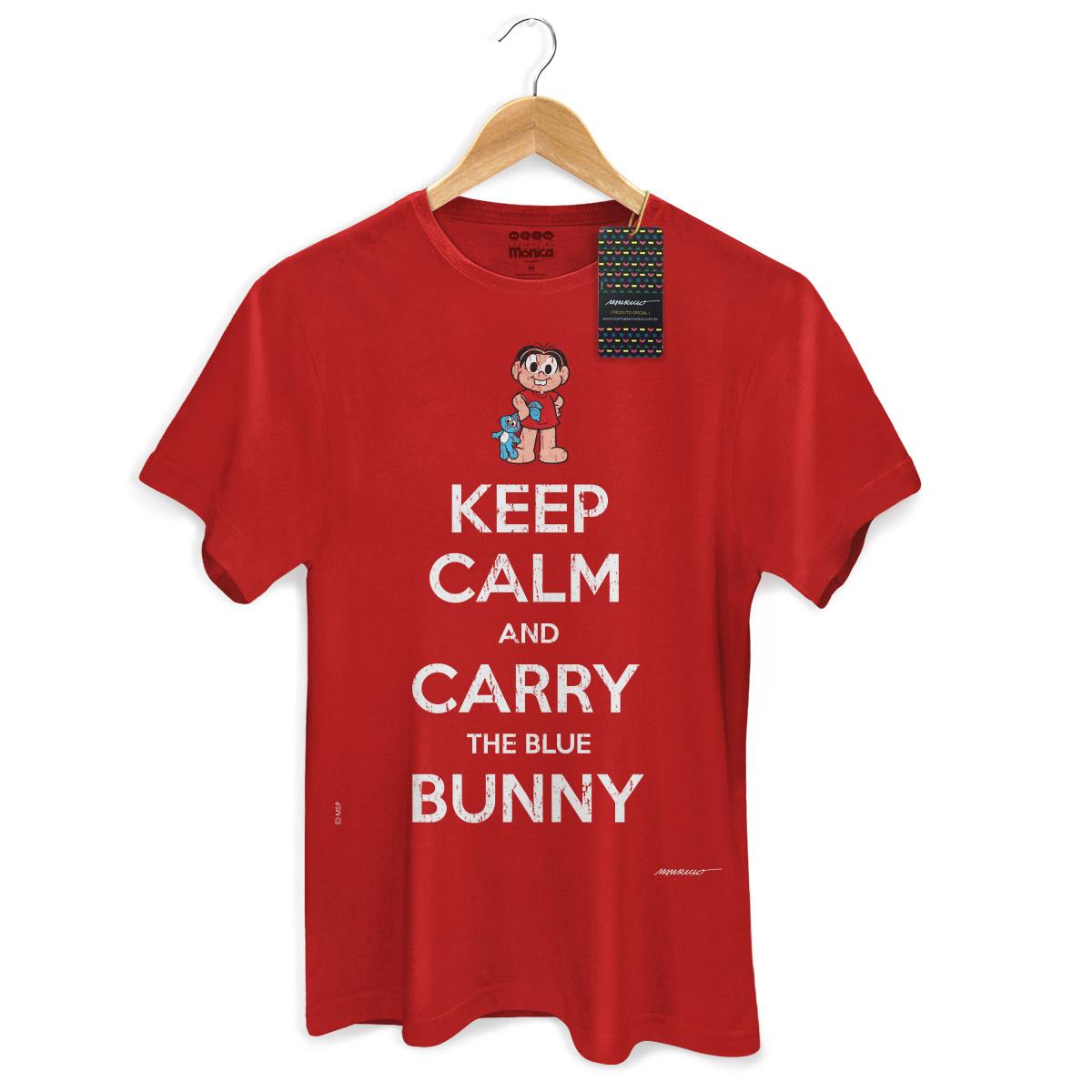 Camiseta Masculina Turma Da Mônica Cool Keep Calm And Carry The Blue Bunny