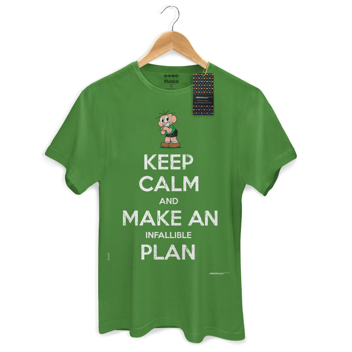 Camiseta Masculina Turma Da Mônica Cool Keep Calm And Make Infallible Plan