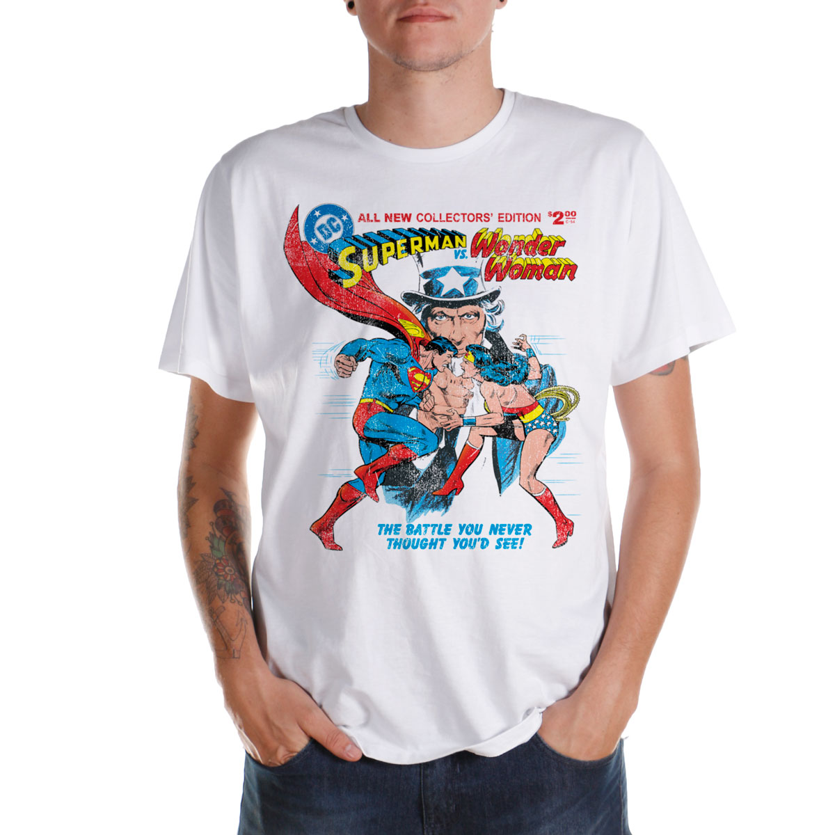 Camiseta Masculina Wonder Woman VS Superman