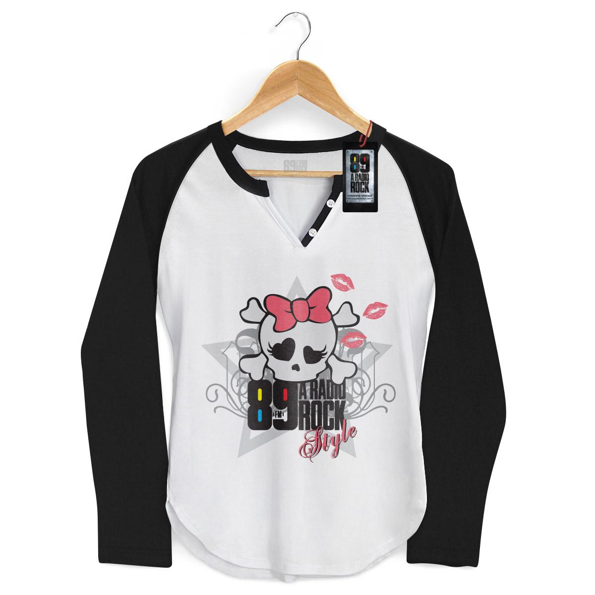 Camiseta Raglan Feminina 89 FM A Rádio Rock Skull Girl