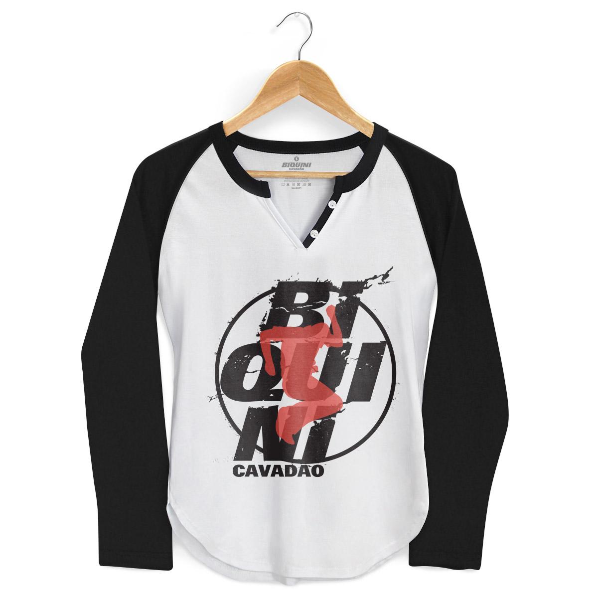 Camiseta Raglan Feminina Biquini Cavadão Logo Ao Vivo