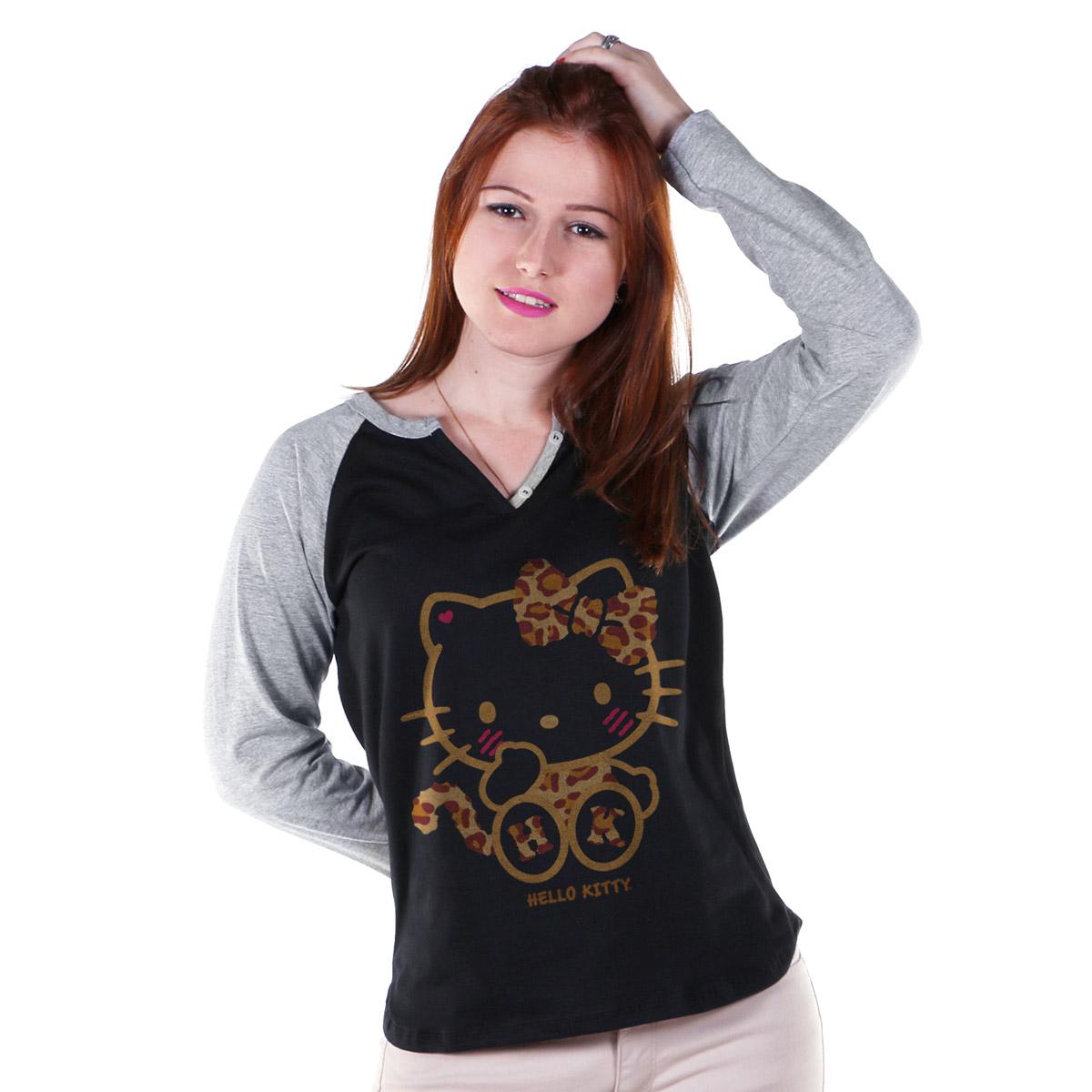 Camiseta Raglan Feminina Hello Kitty Print Fuzzy
