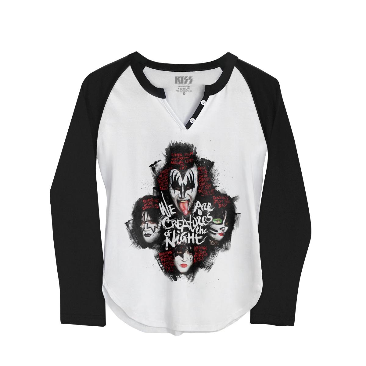 Camiseta Raglan Feminina Kiss Creatures Of The Night