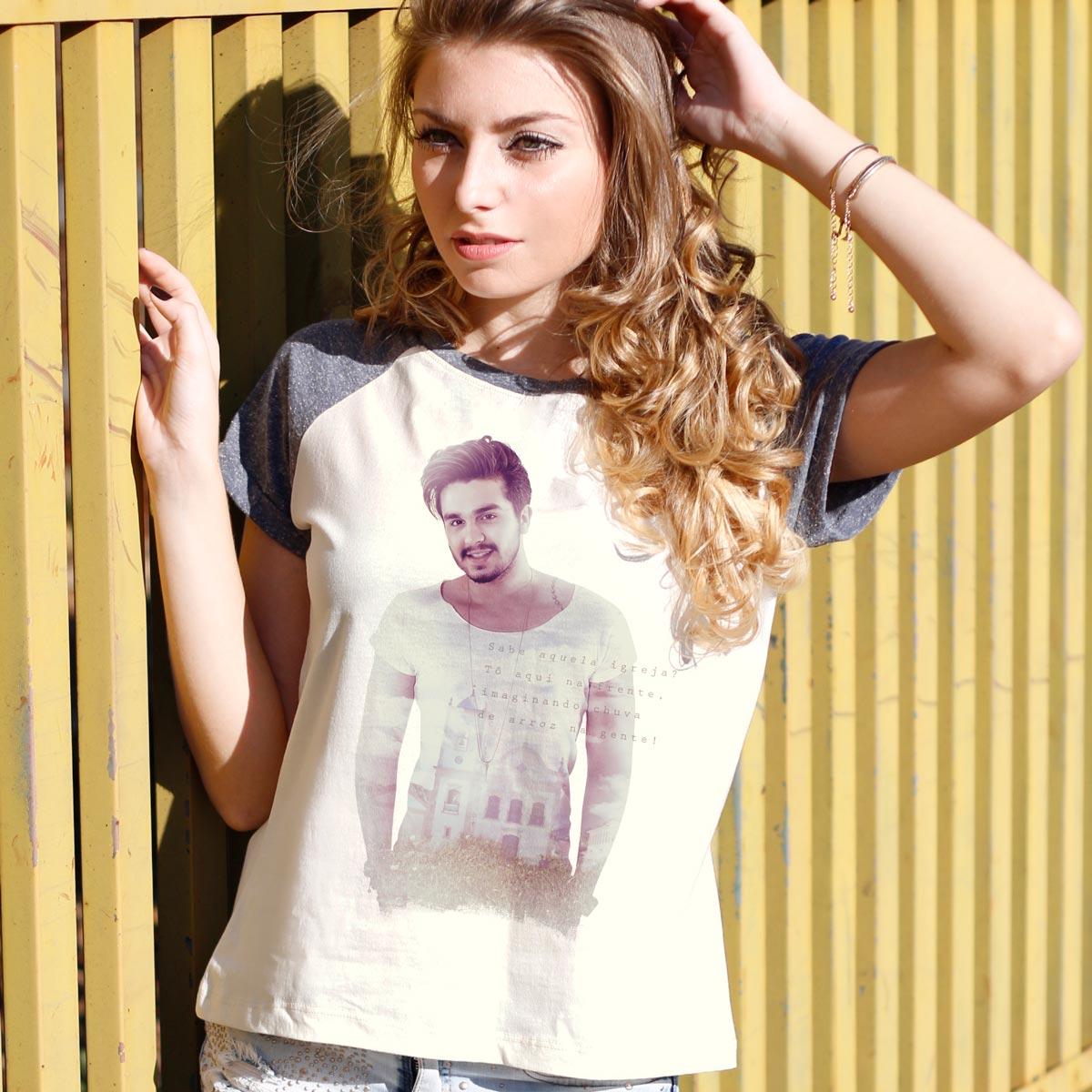 Camiseta Raglan Feminina Luan Santana Chuva de Arroz Na Gente