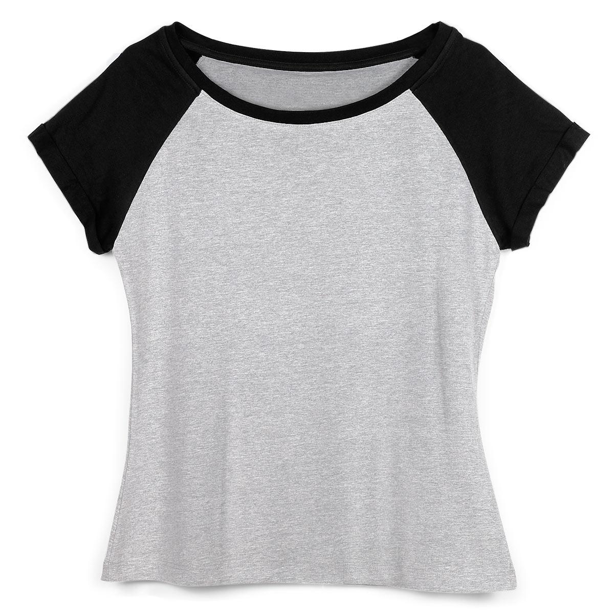 Camiseta Raglan Feminina Mescla e Preto