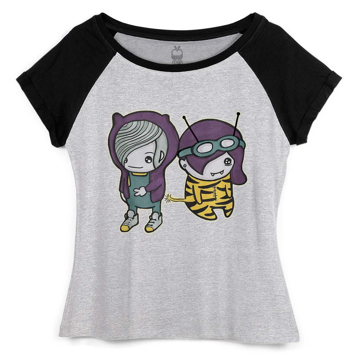 Camiseta Raglan Feminina Monstra Maçã Scan
