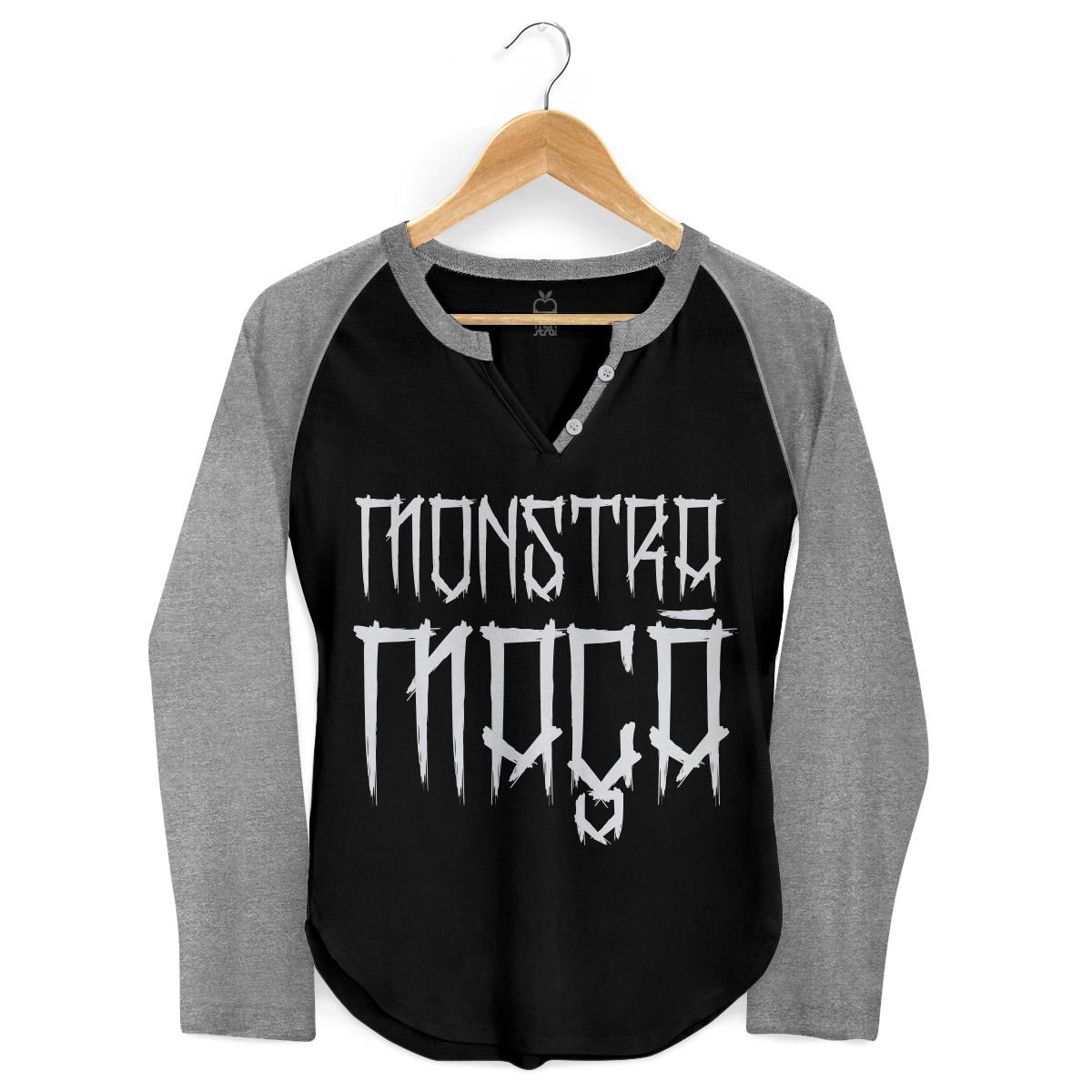 Camiseta Raglan Feminina Monstra Maçã Skulls