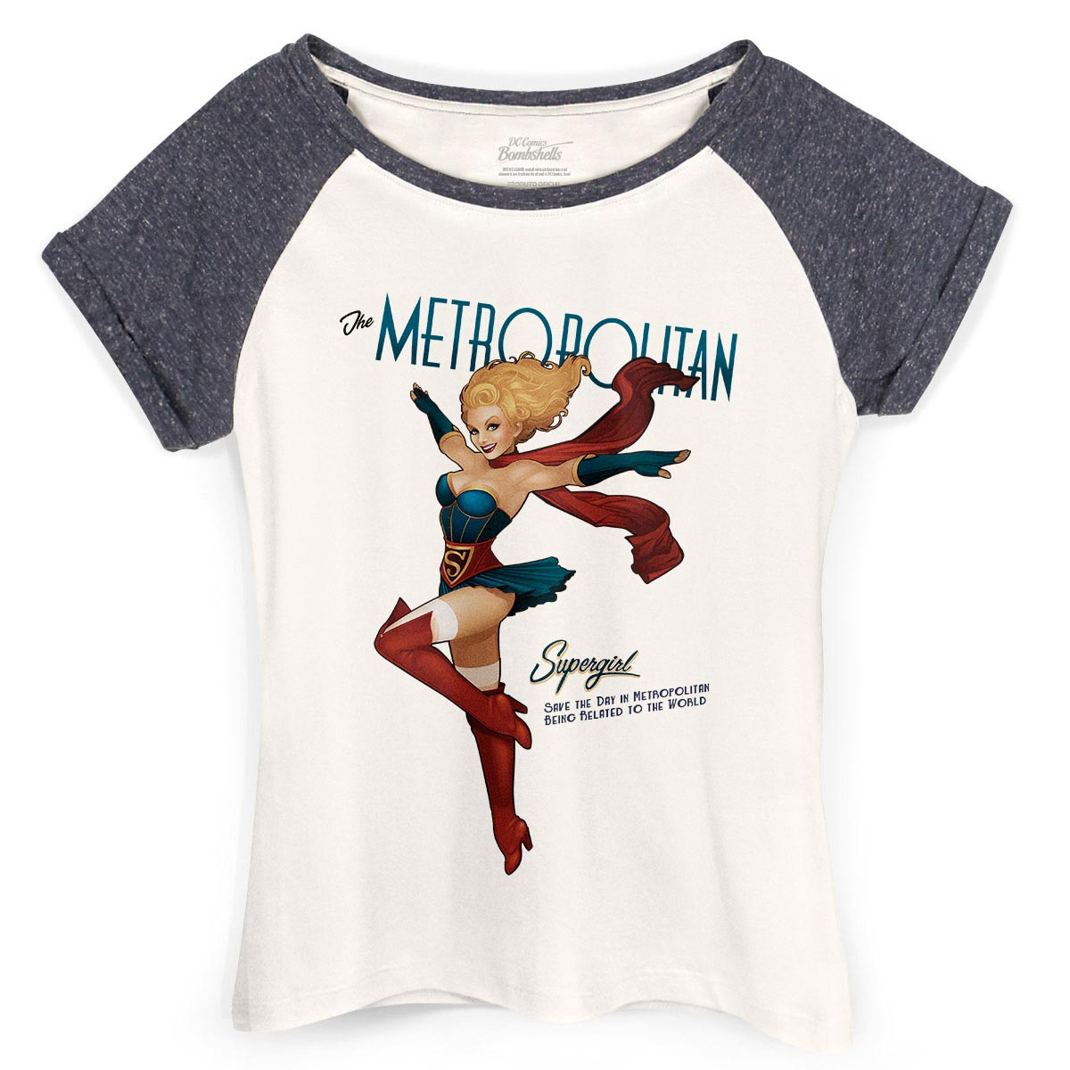 Camiseta Raglan Feminina Supergirl Metropolitan
