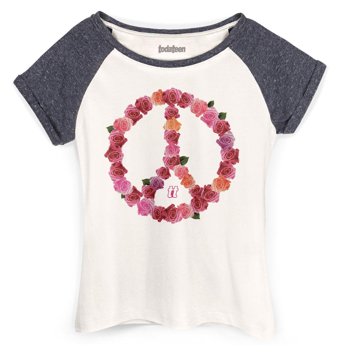 Camiseta Raglan Feminina TodaTeen Paz e Amor