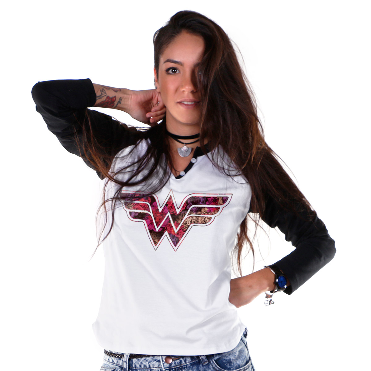 Camiseta Raglan Feminina Wonder Woman Logo Fashion