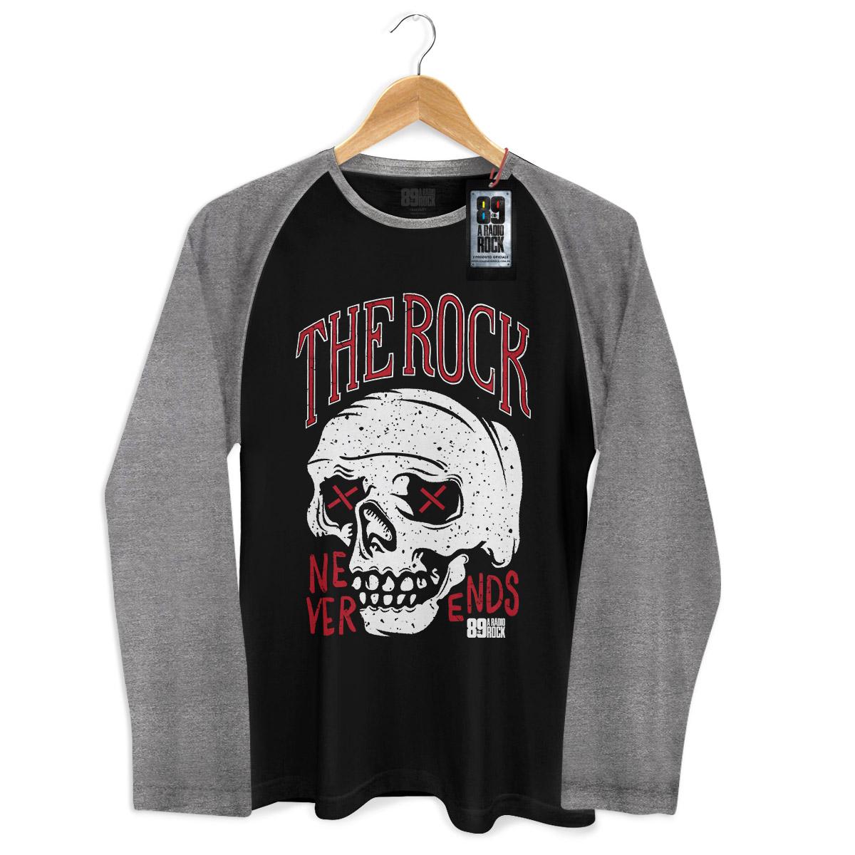Camiseta Raglan Masculina 89 FM A Rádio Rock Never Ends Skull