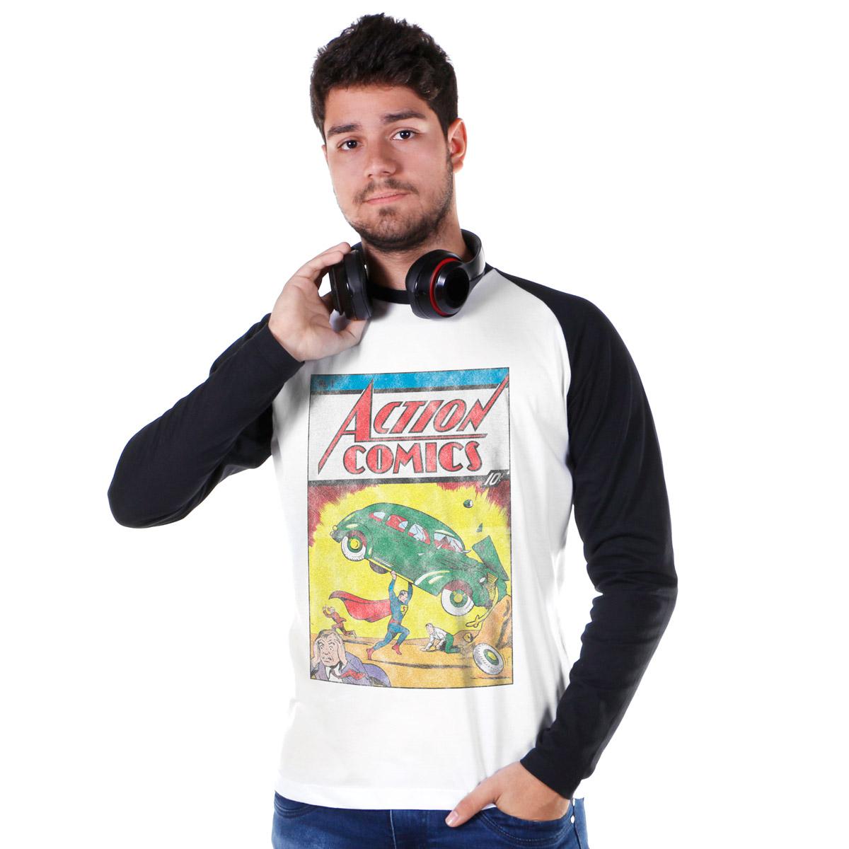 Camiseta Raglan Masculina Superman Action Comics Nº1