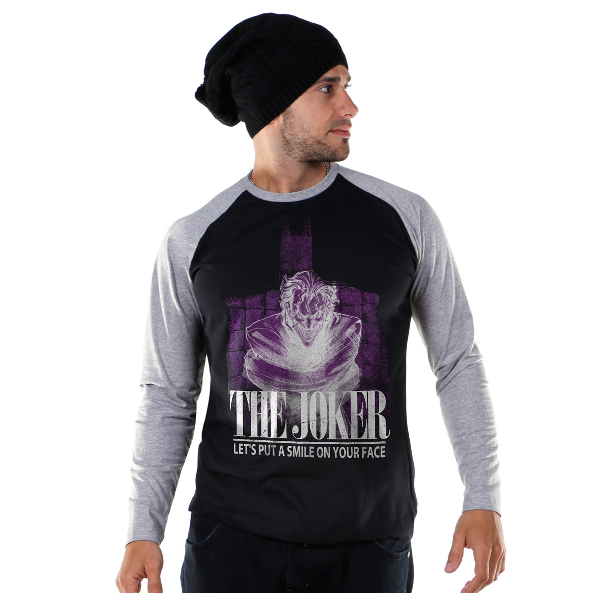 Camiseta Raglan Masculina The Joker Let´s Put A Smile On Your Face