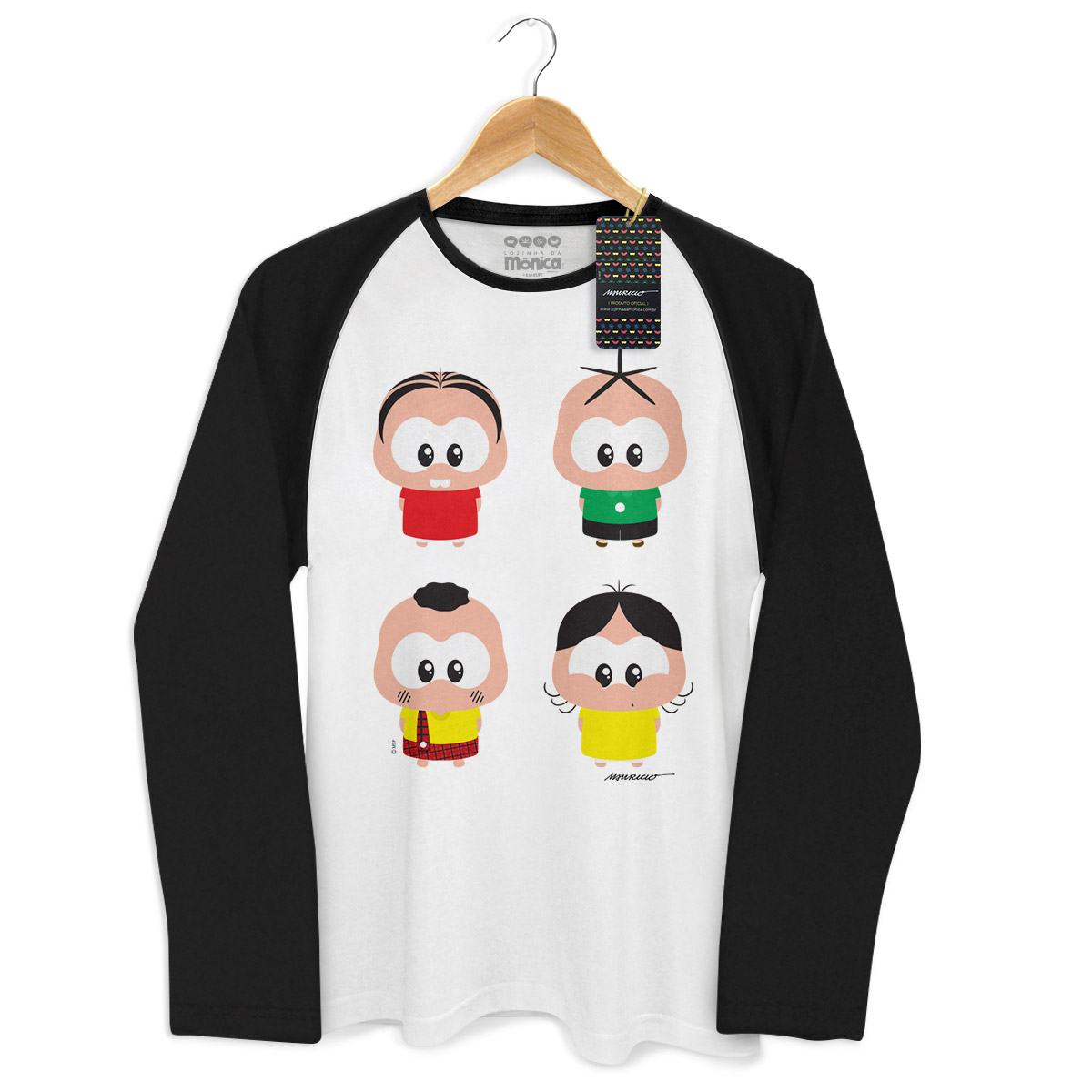 Camiseta Raglan Masculina Turma da Mônica A Turma Toy
