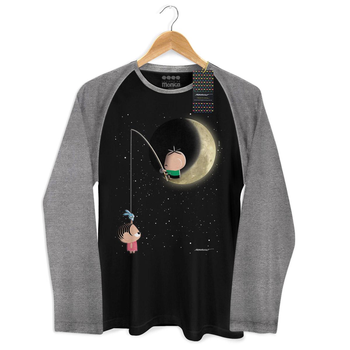 Camiseta Raglan Masculina Turma da Mônica Toy Lua