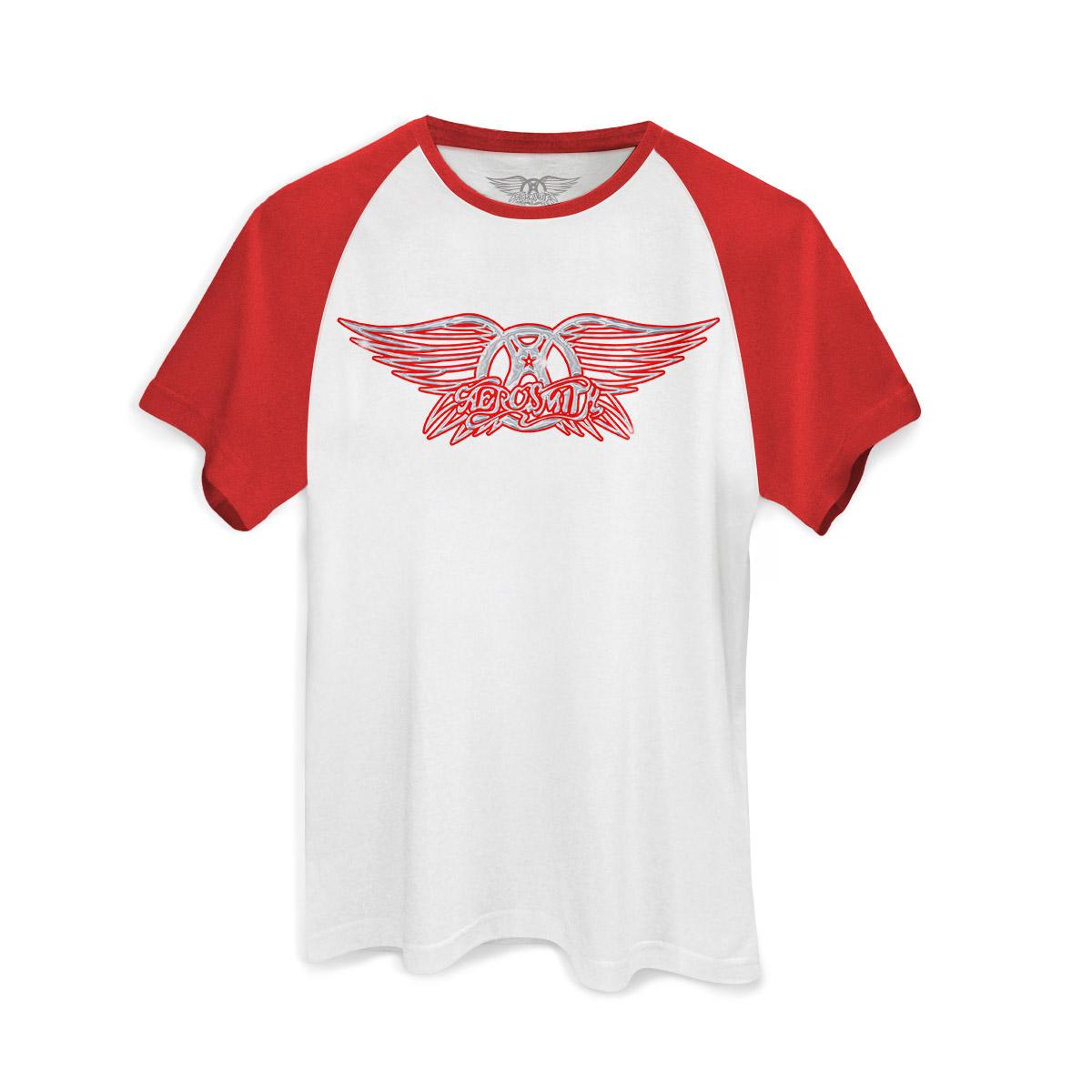 Camiseta Raglan Premium Masculina Aerosmith Logo