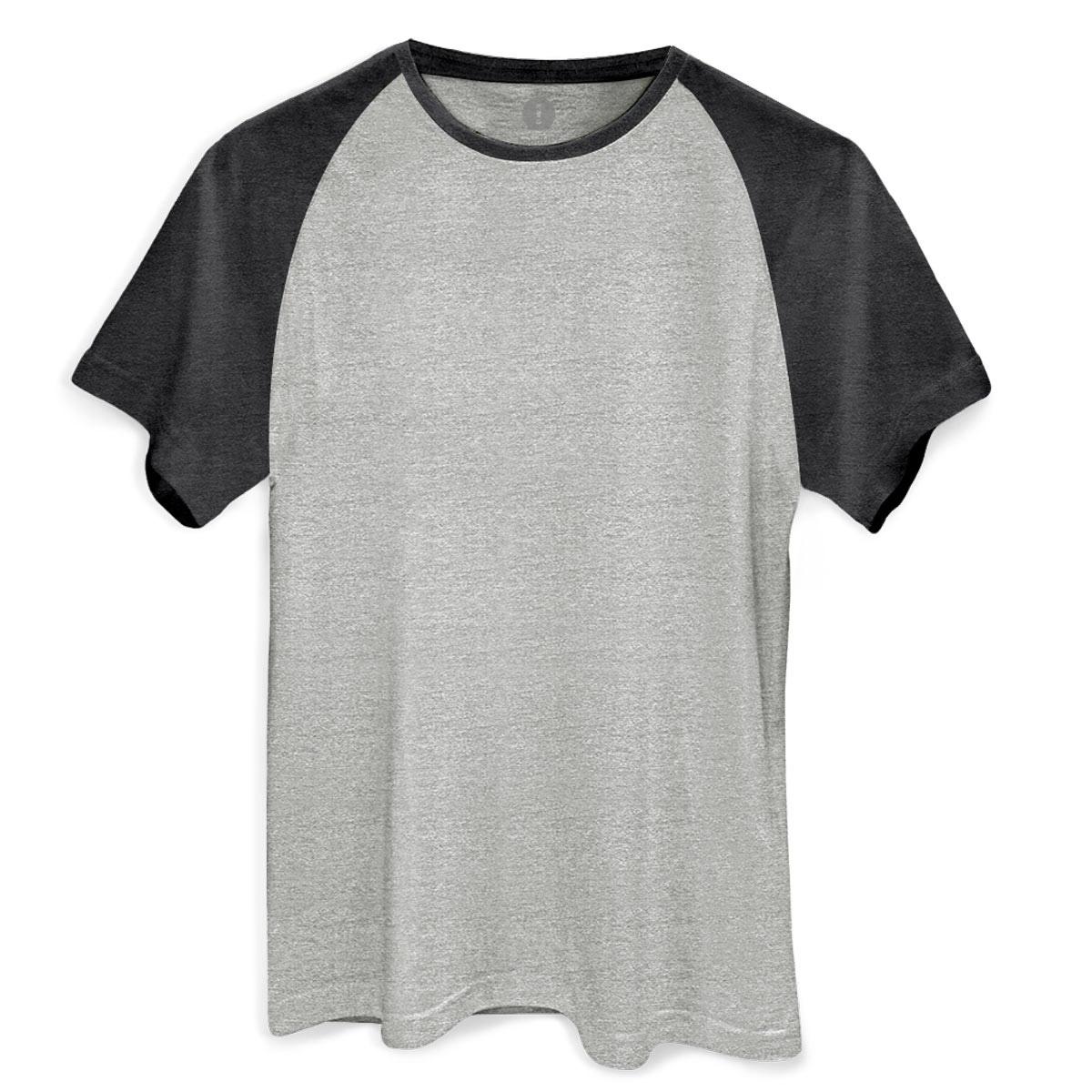 Camiseta Raglan Premium Masculina Mescla Claro e Mescla Escuro