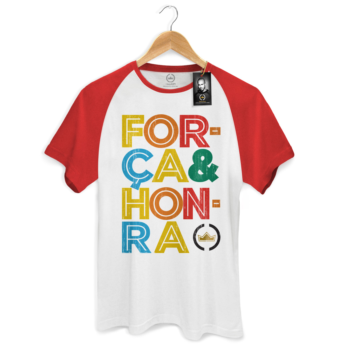 Camiseta Raglan Premium Masculina Thiaguinho Força e Honra Colors