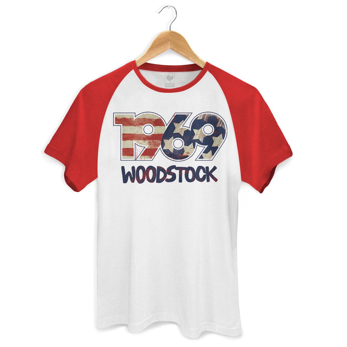 Camiseta Raglan Premium Masculina Woodstock 1969
