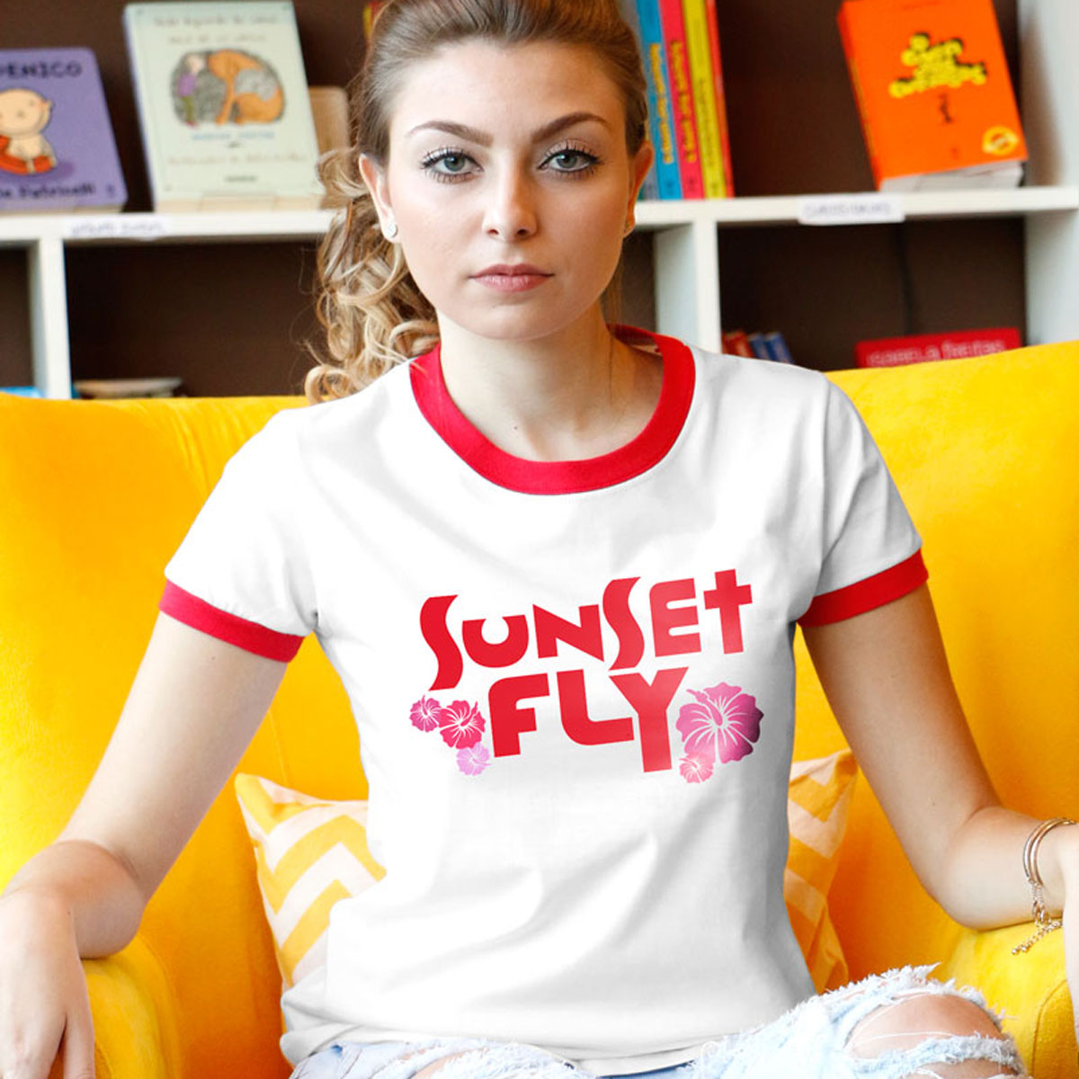 Camiseta Ringer Feminina Banda Fly Sunset Red