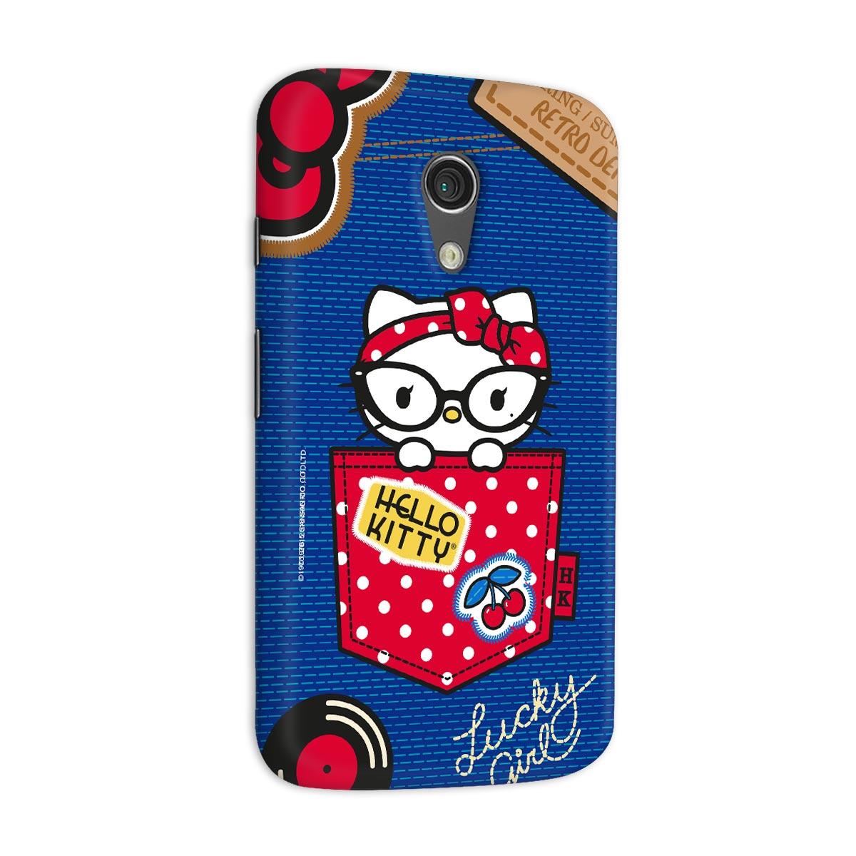 Capa para Motorola Moto G 2 Hello Kitty Retro Denim