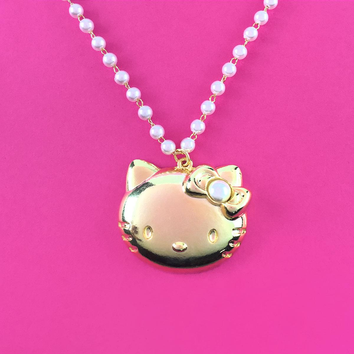 Colar Ouro Hello Kitty Pérolas