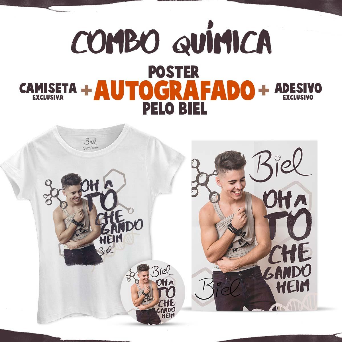 Combo Biel Química com Pôster AUTOGRAFADO + Camiseta Feminina