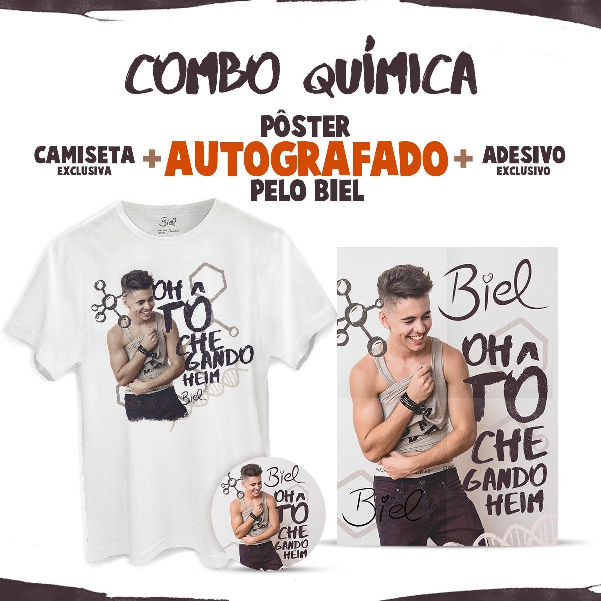 Combo Biel Química com Pôster AUTOGRAFADO + Camiseta Masculina