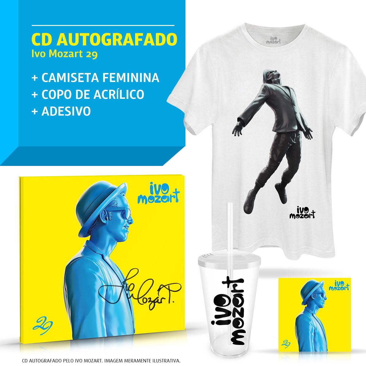 Combo Ivo Mozart CD 29 AUTOGRAFADO + Camiseta Masculina