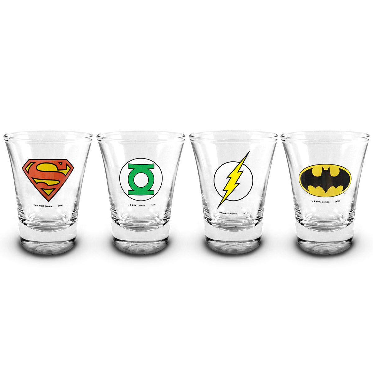 Conjunto de 4 Copos Shot DC Comics Heróis