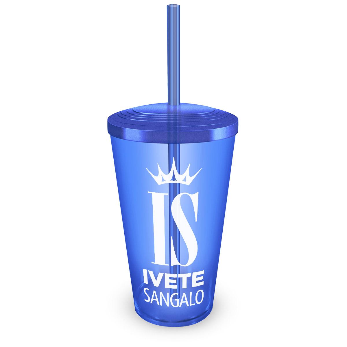 Copo Acrílico Azul com Canudo Ivete Sangalo Logo