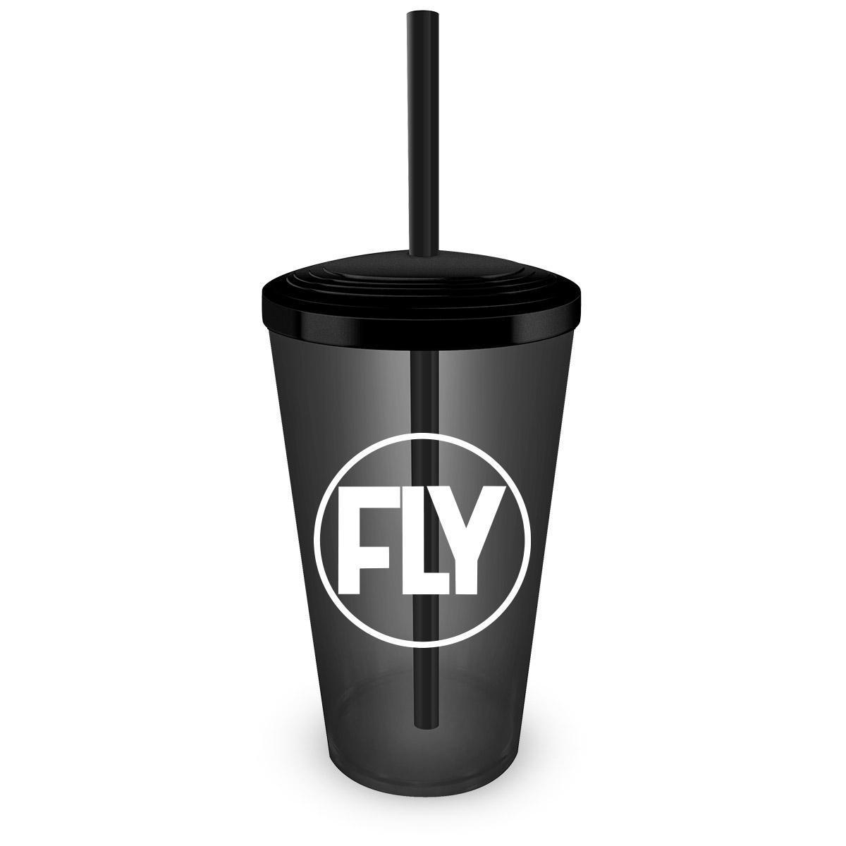 Copo Acrílico Fumê com Canudo Banda Fly Logo