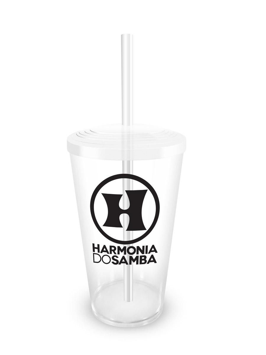 Copo Acrílico Transparente Harmonia do Samba Logo