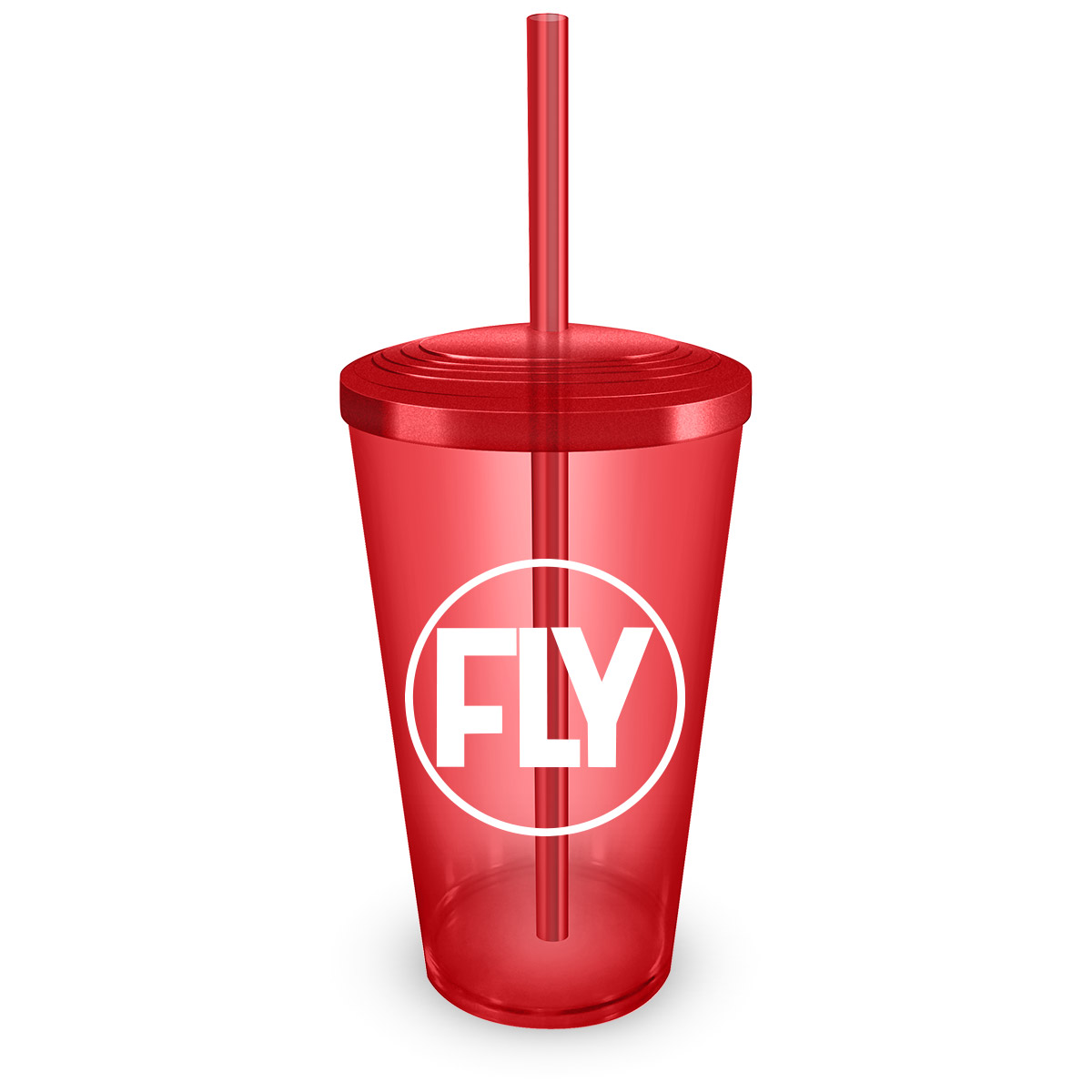Copo Acrílico Vermelho com Canudo Banda Fly Logo